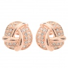 Rigant Gold-plated Zinc Alloy + Rhinestones Stud Earrings for Women - Golden (Pair)