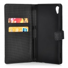 Protective Flip Open PU + PC Case w/ Stand / Card Slots for Sony XperiaZ2 - Black