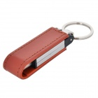 YSK-30 USB 3.0 Flash Drive w/ Foldable Magnetic PU Leather Case Keychain - Brown + Silver (16GB)