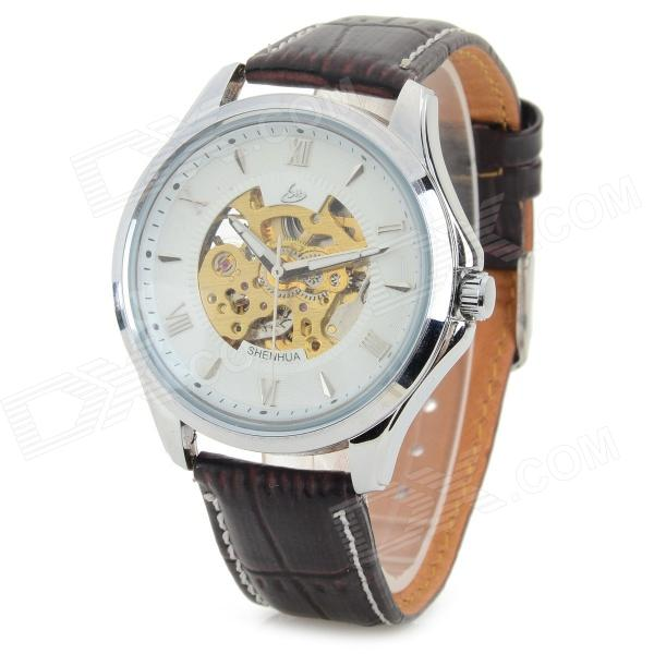 Shenhua 8059 Fashion PU Band Self-Winding Mechanical Analog Wrist Watch for Men - Silver + Coffee