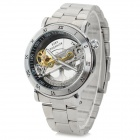 Shenhua 9444 Stainless Steel Hollow Self-Winding Mechanical Analog Wrist Watch for Men - Silver