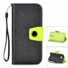 Protective PU + TPU Back Case w/ Stand / Strap / Card Slots for HTC ONE M8 - Black + Green