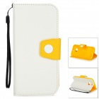 Protective PU + TPU Back Case w/ Stand / Strap / Card Slots for HTC ONE M8 - White + Yellow