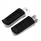 DIY Universal Aluminum Alloy + Rubber Motorcycle Back Pedals - Black + Silver (2 PCS)