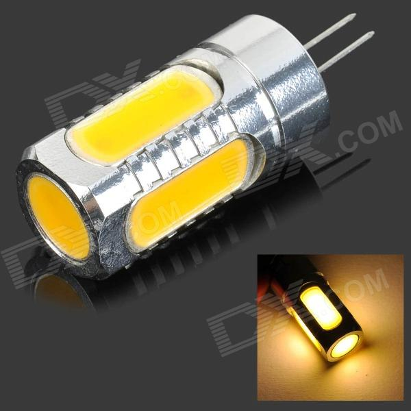 G4 7.5W 350lm 3500K 5-COB LED Warm White Light Lamp - Silver + Yellow (DC 12V)G4<br>Form  ColorSilver + YellowColor BINWarm WhiteMaterialAluminumQuantity1 DX.PCM.Model.AttributeModel.UnitPowerOthers,7.5WRated VoltageDC 12 DX.PCM.Model.AttributeModel.UnitConnector TypeG4Emitter TypeCOBTotal Emitters5Actual Lumens50~350 DX.PCM.Model.AttributeModel.UnitColor Temperature12000K,Others,2700~3500KDimmableNoPacking List1 x COB light<br>