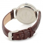 Haiyan 6338 Fashion Zinc Alloy Case Leather Band Quartz Analog Wrist Watch for Women - Brown + White
