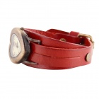 Women's Heart Shaped Zinc Alloy Casing Leather Band Analog Quartz Watch - Claret Red (1 x SR626)
