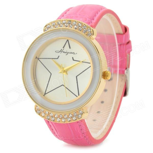 Haiyan 6495 Zinc Alloy Case Leather Band Quartz Analog Wrist Watch for Women - Deep Pink + Golden womage chic pencil shaped hour hands style quartz wrist watch with white dial for women hot pink