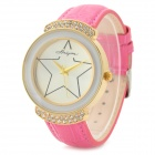 Haiyan 6495 Zinc Alloy Case Leather Band Quartz Analog Wrist Watch for Women - Deep Pink + Golden