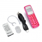 "BM50 0.7"" Screen Bluetooth V2.0 Mini Music Headset w/ Ear Hook / Mic. - Dark Pink"