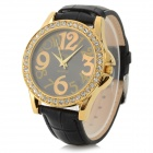 Haiyan 7244 Zinc Alloy Case Leather Band Quartz Analog Wrist Watch for Women - Black + Golden