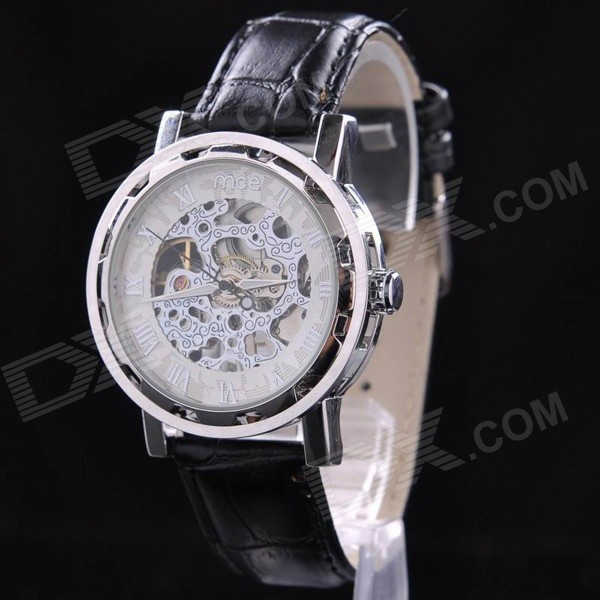 mce 01-0060293 Skeleton Manual Mechanical Analog Wrist Watch for Men - Black + Silver