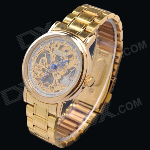 mce 01-0060311 Skeleton Manual Mechanical Analog Wrist Watch for Men - Golden