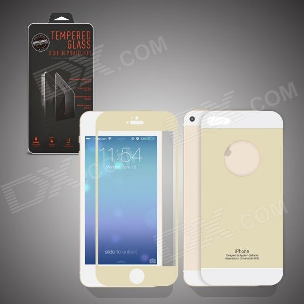 Angibabe 2-in-1 Front + Back Colorful Tempered Glass Screen Protector Film for IPHONE 5 / 5S - Beige fema for iphone 6s plus 6 plus front back 6d colorful laser tempered glass screen films colorful geometric pattern