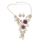 Fashionable Women's Flower Style Crystal Inlaid Necklace + Drop Earrings Set (Pair)