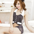 Women's Fashionable Sexy Uniform Style Sleep Dress Set - Black + White