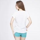 Col rond T-shirt manches courtes Casual Summer Catwalk88 femmes - Blanc (Taille S)