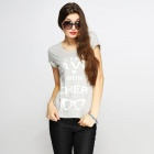 Catwalk88 European Style Women's Summer Short-sleeved Casual Round Neck T-shirt - Grey (Size S)