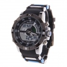 BESNEW BN-0797 Men's Rubber Band Analog + Digital Dual Movement Watch - Black + Blue (1 x SR626)