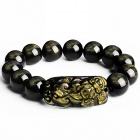 EQute BGEC89M14 14mm Fashionable Natural Ice Golden Obsidian Pixiu Bracelet for Men
