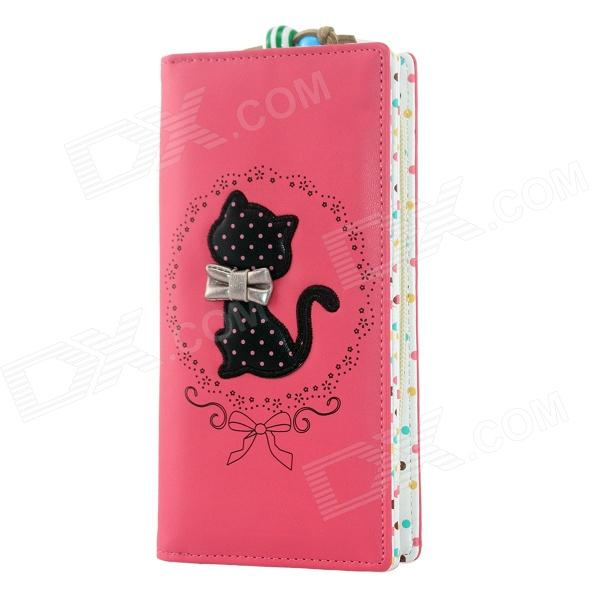 Cute Cartoon Cat Pattern PU Long Wallet for Women - Watermelon red