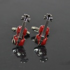 DEDOCufflinks MG-119 Red Violin Shirt Gemelos - Red + Silver (2 PCS)