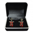 DEDOCufflinks MG-119 Red Violin Shirt Cufflinks - Red + Silver (2 PCS)