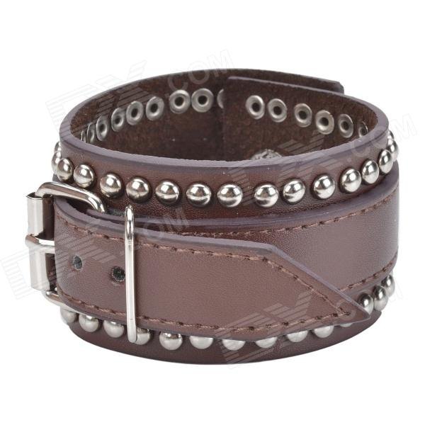 Double Rews of Round Rivets Style Cow Leather Bracelet w/ Buckle - Brown + Silver mastech ms8212a multi functional pen style digital multimeter black green