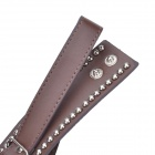 Double Rews of Round Rivets Style Cow Leather Bracelet w/ Buckle - Brown + Silver