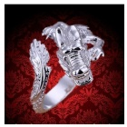 Fashionable Silver Plated Opening Dragon Finger Ring for Men