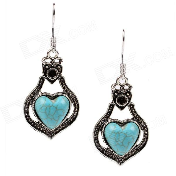 Fashionable Women's Retro Heart Style Drop Earrings - Green + Silver (Pair)