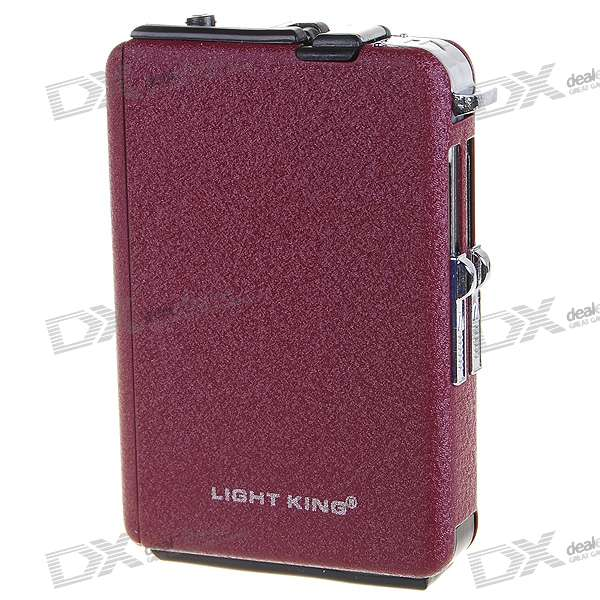Metal Cigarette Case with Butane Jet Torch Lighter - Wine Red