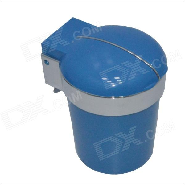 Carking CS2T Double Lid Chromium Plating Cup Shaped Ashtray Dust for Car - Blue (1 x CR2032)