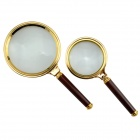 70mm + 90 mm Hand-held Magnifying Glass w/ Wooden Handle