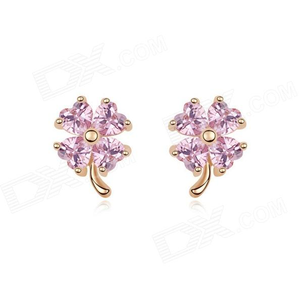Angibabe Gold Plating Four-leaf Clover Style Zircon Ear Studs for Women - Pink