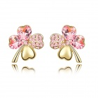 Angibabe Gold Plating Four Leaf Clover Earrings for Women - Pink
