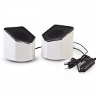 EN-015 Portable 2.0 Channel USB 3.5mm Wired Stereo Desktop Speakers Set for PC / Laptop - White