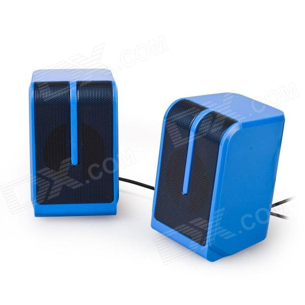 EN-011 Portable 2.0 Channel USB 3.5mm Wired Stereo Desktop Speakers Set for PC / Laptop - Blue - DXSpeakers <br>Low power consumption and energy saving; - Simple design compact but not boring; - Rich and strong stereo sound with mini size; - Ideal for desks with limited Space; - Convenient volume control; - Note: USB and 3.5mm cables both need to be plugged.<br>
