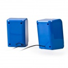 EN-011 Portable 2.0 Channel USB 3.5mm Wired Stereo Desktop Speakers Set for PC / Laptop - Blue