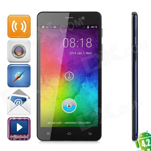 Pomp C6 Mini Android 4.2 Quad-Core WCDMA Smartphone w/ 5.0 Screen, Dual-SIM, Wi-Fi and GPS - Black - DXAndroid Phones<br>Color Black RAM 1GB ROM 4GB Brand OthersPomp Model C6 Mini Quantity 1 Set Material Plastic Shade Of Color Black Networking WCDMAGSM Frequency GSM: 850 / 900 / 1800 / 1900MHz 3G: WCDMA 850 / 2100MHz Data Transfer GPRSHSPAEDGE SIM Type OthersOrdinary SIM + Micro SIM SIM Slot 2 Network Standby Dual Network Standby Network Conversation One-Party Conversation Only GPS Yes Wi-Fi 802.11b/g/n Type Brand New Operating System Android 4.2.2 CPU Processor MTK6582 1.3GHz CPU Type Quad-Core Language Simplified Chinese Traditional Chinese Indonesian Malay German English Spanish French Italian Hungarian Dutch Portuguese Romanian Vietnamese Turkish Greek Russian Hebrew Arabic Thai Korean Graphics Processor Mali-400MP Released Time 2014.5 Available Memory 2.47GB Memory Card Support max 32GB Micro SD card Screen Size 5.0 inch Size Range 5.0-5.4 Inches Touch Screen Capacitive Screen Screen Resolution 1280 x 720 Camera 5MP Secondary Camera Lens 2MP Video 1280 x 720 Flash Yes Touch Focus Yes Battery Capacity 2000 mAh Battery Type Li-ion battery Talk Time 3 Hour Standby Time 100 Hour Bluetooth Version V4.0 TV No Radio Tuner Yes waterproof level OthersN/A Sensor G-sensorproximity I/O Interface Micro USB3.5mmSIM Slot Packing List 1 x Mobile Phone 1 x Battery 1 x USB Cable(100cm) 1 x Charger (EU plug 100-240V) 1 x Earphone with Microphone (110cm) 1 x Users Manual (English and Chinese)<br>