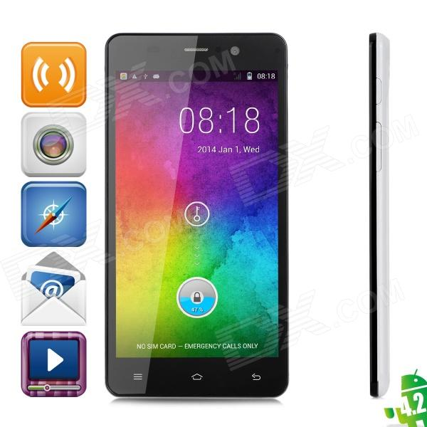 Pomp C6 Mini Android 4.2 WCDMA Quad-core Smartphone w/ 5.0 Screen, Wi-Fi, GPS, Dual-SIM - White jiake f1w 5 0inch capacitive touch screen mtk6572 dual core 1 2ghz smartphone 512mb 4gb 2 0mp 0 3mp android 4 2 os 3g gps with protective case black