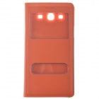 Protective PU Leather + Plastic Back Case Cover w/ Visual Window / for Samsung Galaxy i9300 - Orange