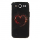 Kinston Red Heart Pattern Protective Plastic Hard Back Case for Samsung Galaxy S3 i9300 - Black