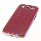 Kinston Stripes Pattern Protective Plastic Hard Back Case for Samsung Galaxy S3 i9300 - Purple + Red