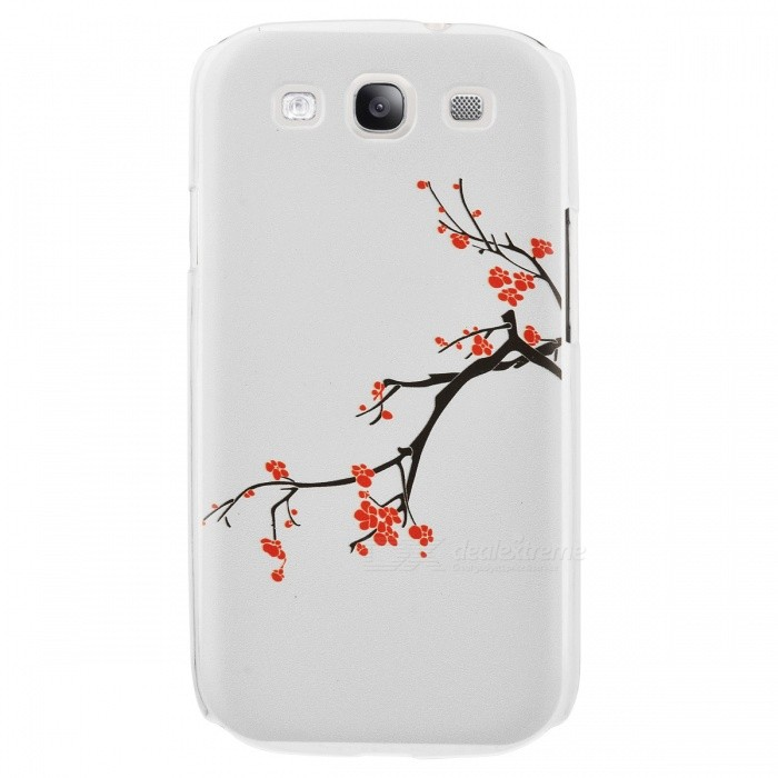 Kinston Plum Blossoming Pattern Protective Plastic Hard Back Case for Samsung Galaxy S3 i9300 -White