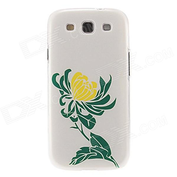 Kinston Chrysanthemum Pattern Protective Plastic Hard Back Case for Samsung Galaxy S3 i9300 - White kinston colorful flowers and butterflies pattern plastic protective case for samsung galaxy s3 i9300