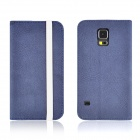 Angibabe Matte Protective PU Leather Case Cover Stand w/ Card Slot for Samsung Galaxy S5 - Blue