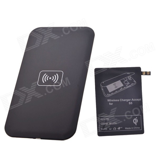 QI Wireless Charger Pad w/ Wireless Charger Receiver for Samsung Galaxy S5 - Black
