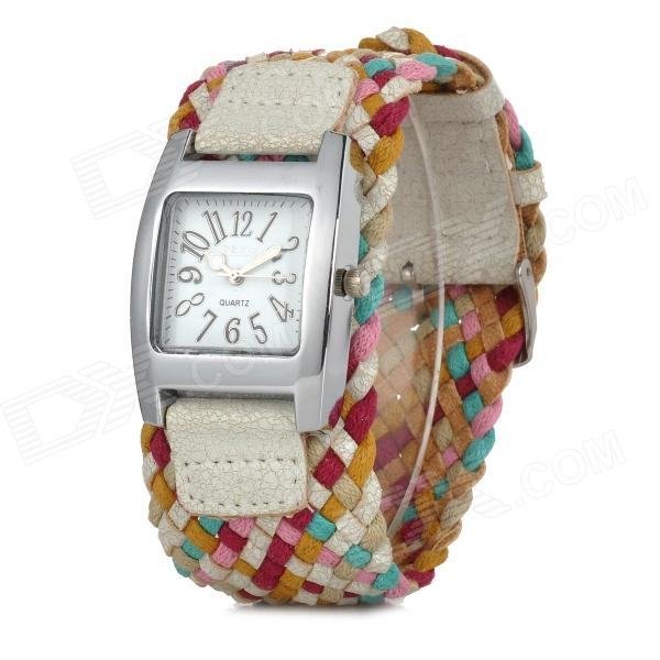 B-01 Fashionable PU Wristband Analog Quartz Watch for Women - Yellow + Multi-Colored (1 x 377)