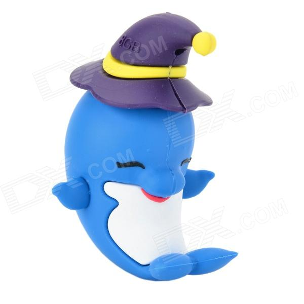 Cute Smiling Dolphin Shaped USB 2.0 Flash Disk Drive - Blue + White + Purple (8GB) cute cartoon mushroom usb flash drive pink white purple 8gb